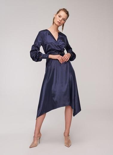 People By Fabrika Saten Kemerli Elbise Lacivert